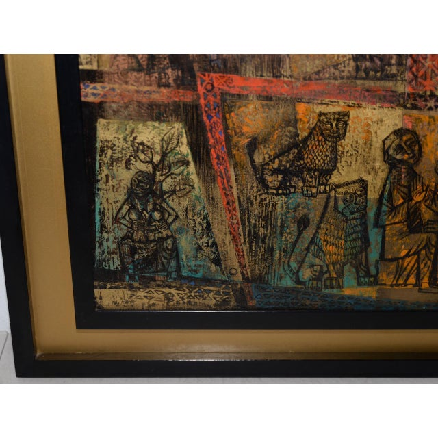 "Gerda With (American, 20th c.) ""Memory of the Bronze Doors of San Zeno, Italy"" Oil Painting c.1956 Fine mid century modern..."