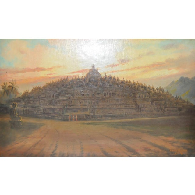 Mid-Century Javanese Temple Oil Painting by Frederik Kasenda C.1950s For Sale - Image 4 of 9