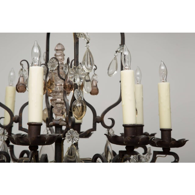 French Eight-Light Chandelier With Multi-Form Pendants For Sale In West Palm - Image 6 of 8