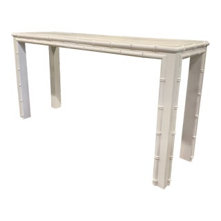 White Vintage Faux Bamboo Wood Console Table For Sale