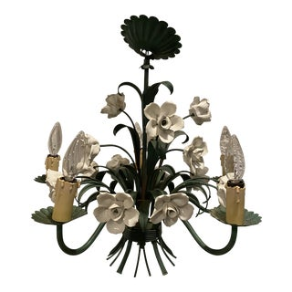 Vintage Metal Floral Chandelier With Porcelain Flower Details by Underwriters Laboratories For Sale