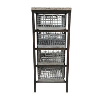 Zinc Top Drawer Table For Sale