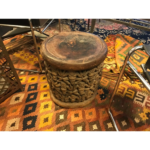 Bamileke Tribe, Carved African Wooden Stool/Table, Vintage For Sale In Miami - Image 6 of 6