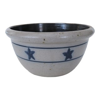 Vintage Rowe Pottery Works Blue Star Stoneware Mixing Bowl For Sale