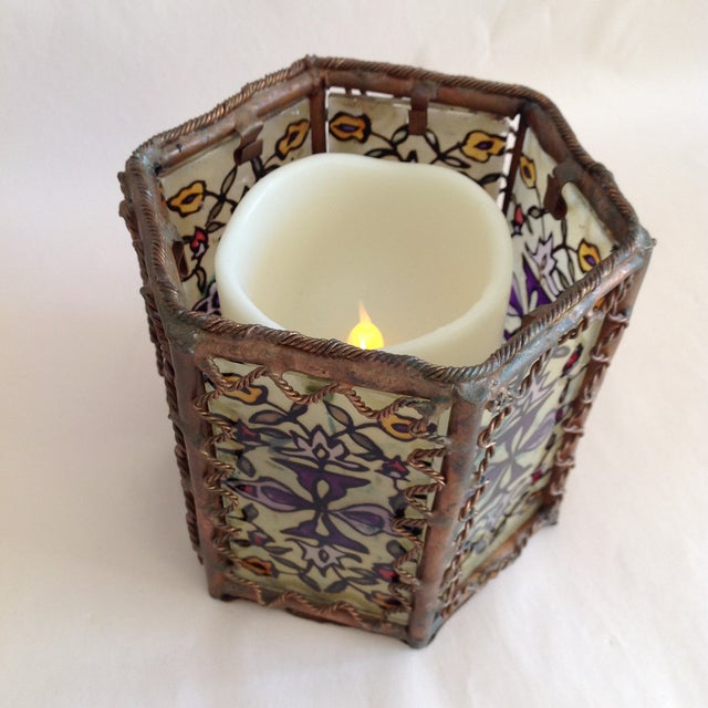 Bohemian Moroccan Brass & Glass Candle Lantern - Image 9 of 10