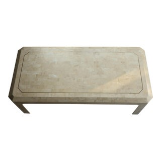 Maitland-Smith Style Tessellated Coral Stone Coffee Table For Sale