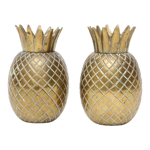 Brass Pineapple Salt & Pepper Shakers - A Pair For Sale