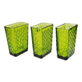 Vintage Nos Anchor Hocking Avocado Green Glass Vases - Set of 3 For Sale