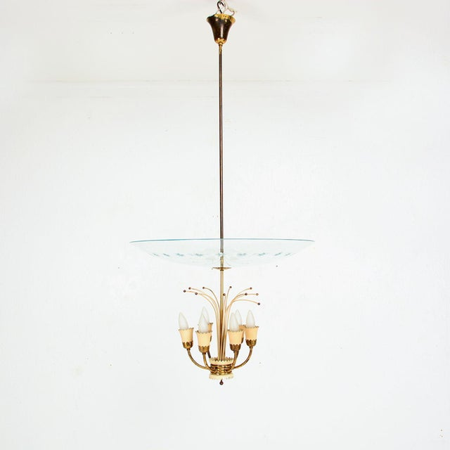 Italian Glass Chandelier After Fontana Arte, Max Ingrand 1950s For Sale In San Diego - Image 6 of 9