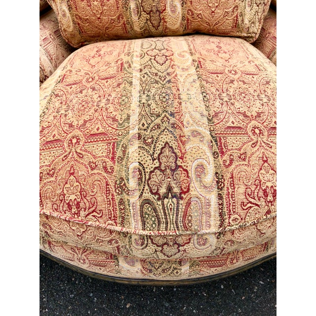 Vintage French Bergere Chair With Paisley Upholstery For Sale - Image 9 of 13