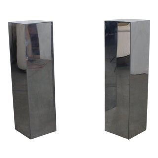 Mid-Century Modern Chrome Steel Pedestal/Stands For Sale