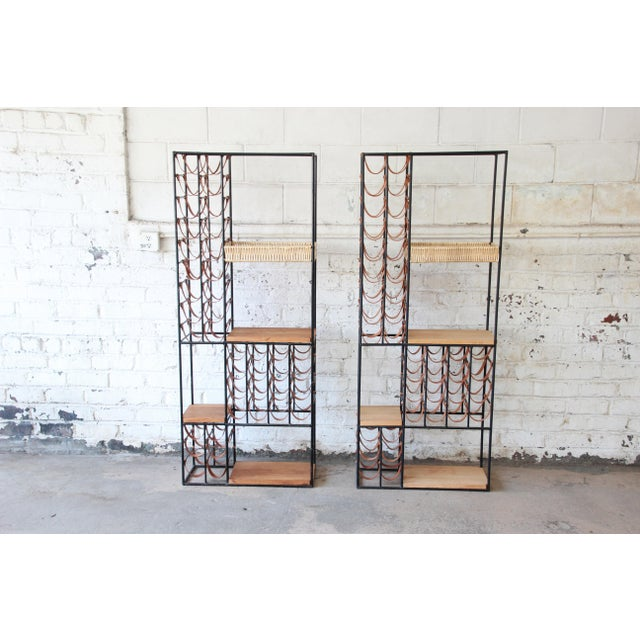 Contemporary Arthur Umanoff Mid-Century Modern Leather and Iron 40-Bottle Wine Rack, Two Available For Sale - Image 3 of 13
