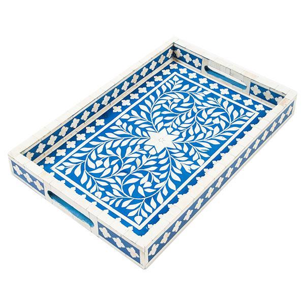 Indian Blue Bone Inlaid Tray - Image 1 of 2