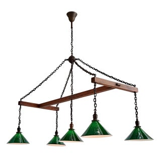 Ultra-rare 5-light Billiard Chandelier W/ Oak Frame Circa 1910