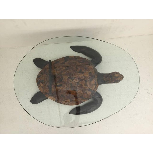 Tesated Coconut Shell Turtle Coffee Table Attributed To Maitland Smith Egg Shaped Glass Top