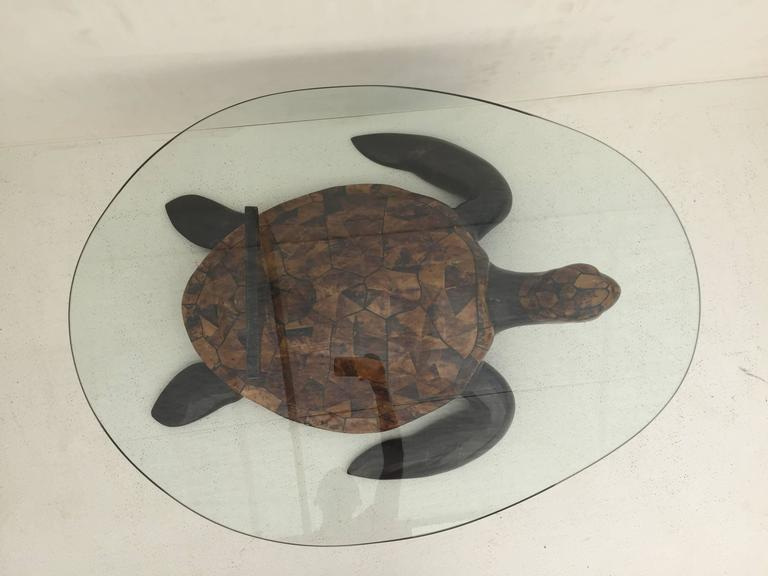 Merveilleux Tessellated Coconut Shell Turtle Coffee Table Attributed To Maitland Smith.  Egg Shaped Glass Top