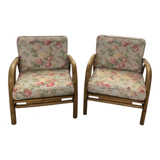20th Century Boho Chic Bamboo Arm Chairs - a Pair For Sale