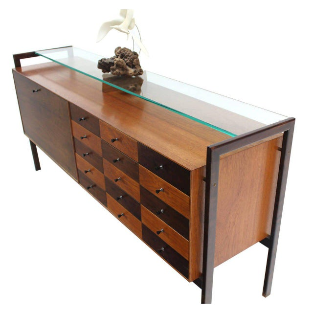 Glass Multi Drawer Drop Front Bar Compartment Glass Shelf Top Long Dresser Checker For Sale - Image 7 of 9