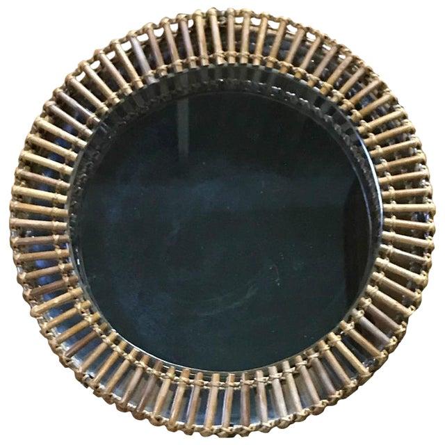 Diminutive Franco Albini Style Rattan and Brass Circular Mirror For Sale