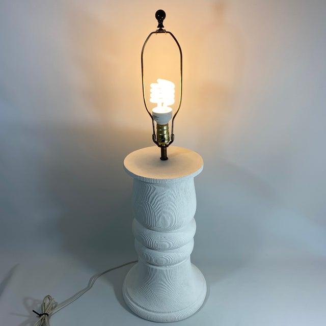 Monumental 1989 Bon Art Faux Bois Plaster Lamp For Sale - Image 11 of 13