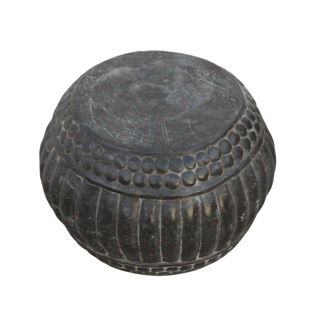 Asian Chinese Gray Stone Carved Round Simple Relief Pattern Stand For Sale - Image 3 of 7