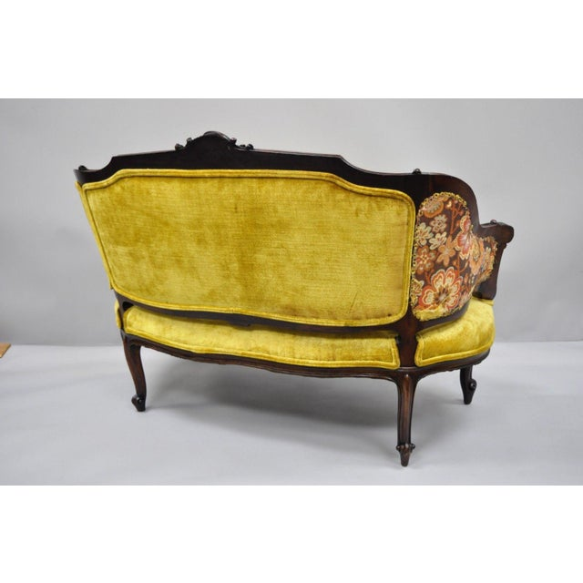 Antique French Louis XV Style Finely Carved Mahogany Settee Loveseat For Sale - Image 9 of 11