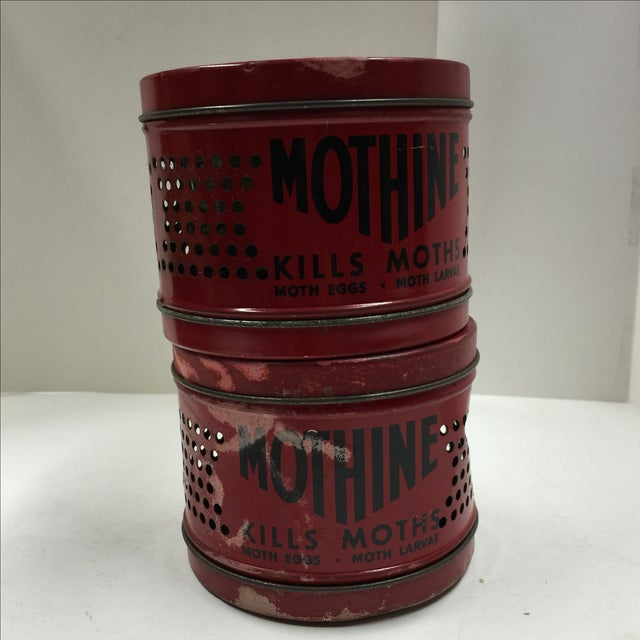 Vintage Red Mothine Tins - A Pair For Sale - Image 7 of 7
