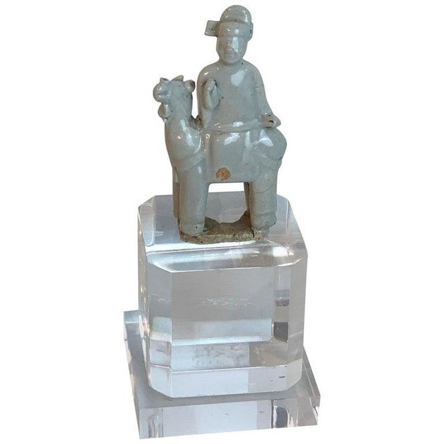Song Dynasty Chinese Celadon Porcelain Horse and Rider on Later Lucite Pedestal For Sale - Image 13 of 13