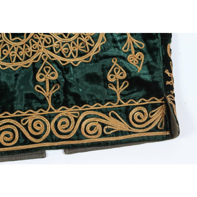 Textile Authentic Ottoman Turkish Vest in Green Velvet For Sale - Image 7 of 9