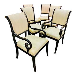 Kindel Black Lacquer Sleigh Back Neoclassical Style Dining Chairs- Set of 6 For Sale