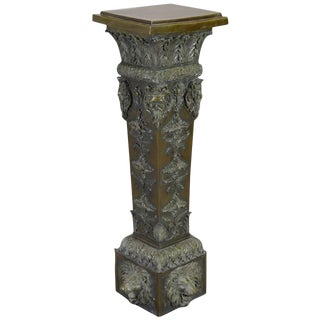 Italian Baroque Style Patinated Bronze Pedestal For Sale