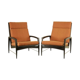 Danish Modern Ebonized Pair Black Lounge Chairs with Brass For Sale