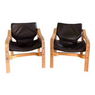 Leather German Bentwood Sling Chairs (Pair) For Sale