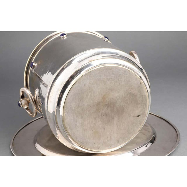 Late 20th Century Modern Silver Plate Ice Bucket & Tray With Blue Cabochon Decor - 2 Piece Set For Sale - Image 5 of 6