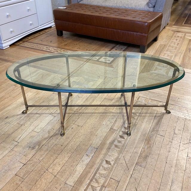 Maison Jansen Brass Finish Glass Top Coffee Table Chairish