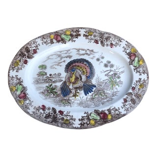 Thanksgiving Vintage Transferware Colorful Turkey Platter For Sale