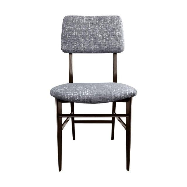 Vittorio Dassi Midcentury Italian Vittorio Dassi Wood Frame Dining Chair in Steel Blue Velvet For Sale - Image 4 of 5