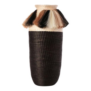 Fanned Out Large Tall Vase Cream/black For Sale