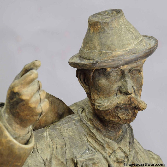 Early 20th Century A Large Unfinished Black Forest Poacher With Ibex Carving For Sale - Image 5 of 12