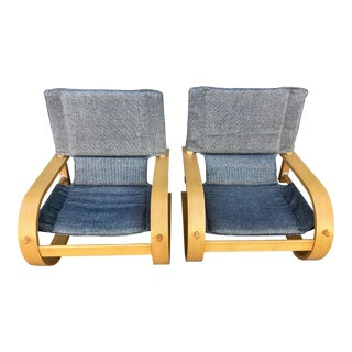 1960s Vintage Stendig Low Bent Plywood Lounge Chairs- A Pair For Sale