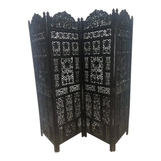 4-Panel East Indian Hand Carved Wood Screen Divider