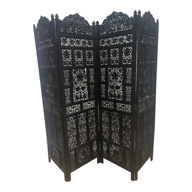 4-Panel East Indian Hand Carved Wood Screen Divider For Sale