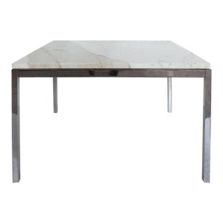 Knoll Studio Stainless Steel and Calacatta Marble Side Table by Florence Knoll For Sale