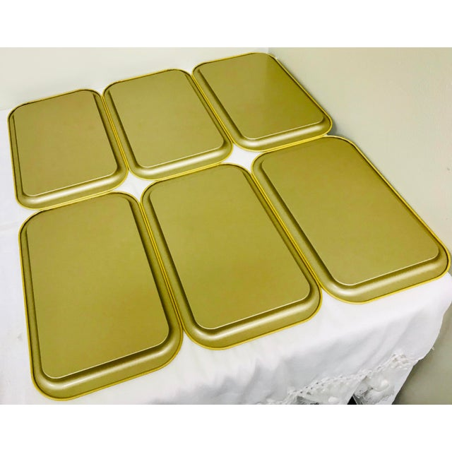 Boho Chic 1950s Vintage Regency Style Metal Snack Trays - Set of 6 For Sale - Image 3 of 6