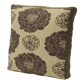 Vintage Mid-Century French Woven Cotton Floral Decorative Double-Sided Pillow For Sale