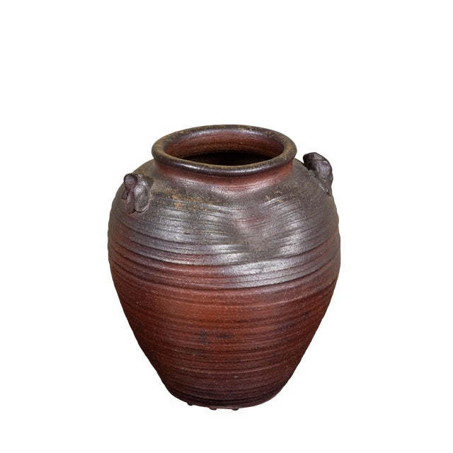 Antique Japanese Bizen Stoneware Crock For Sale
