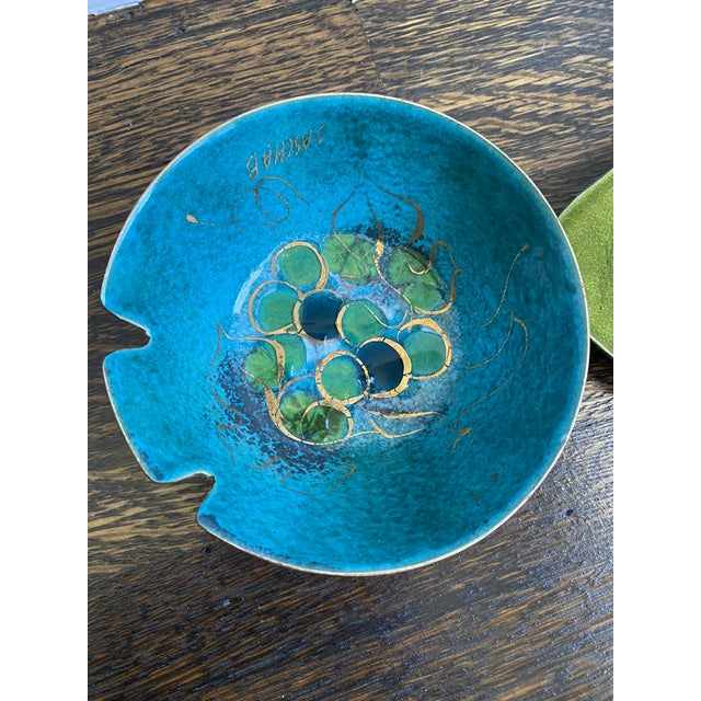 """3 beautiful Sascha Brastoff bowls or trinket dishes. Enamel on copper. All 3 are signed. The bowl is 4 1/2 by 2"""". The..."""