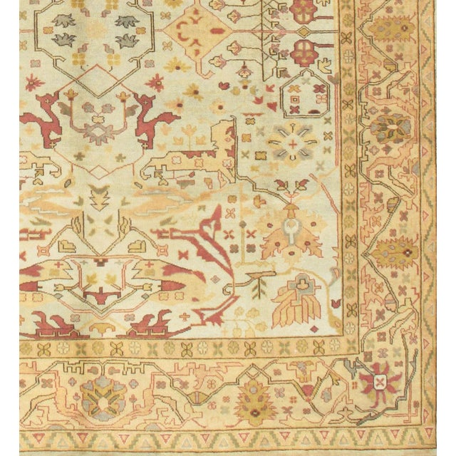 Original INDIAN OUSHAK Handmade Hand-knotted. Lamb's wool on a wool foundation. This rug has a dense, soft pile, and...