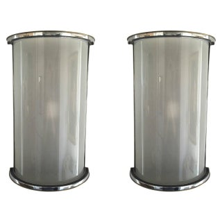 Modern Semi-Cylinder Sconces - A Pair