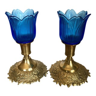 1970s Indian Brass Candle Holder With Blue Glass Hurricane - a Pair For Sale